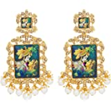 The Luxor Traditional Gold Plated Lord Radha-Krishna Temple Jewellery Dangler Earring For Women and Girls-ER-1823