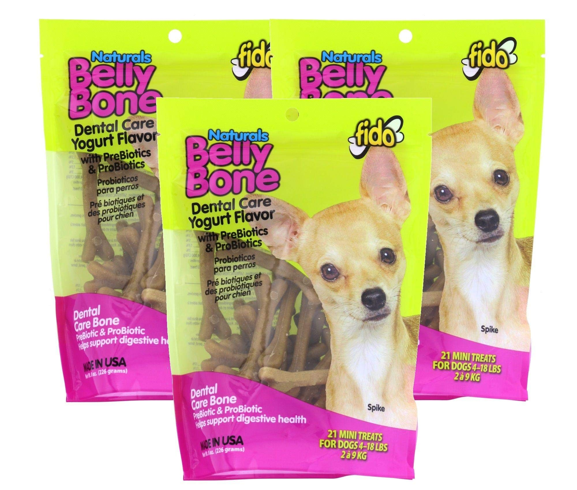 (3 Pack) Fido Belly Dog Bone, Digestion Aid w/ Prebiotic and  Probiotic Enzymes, Mini, 21 Bones each by Fido