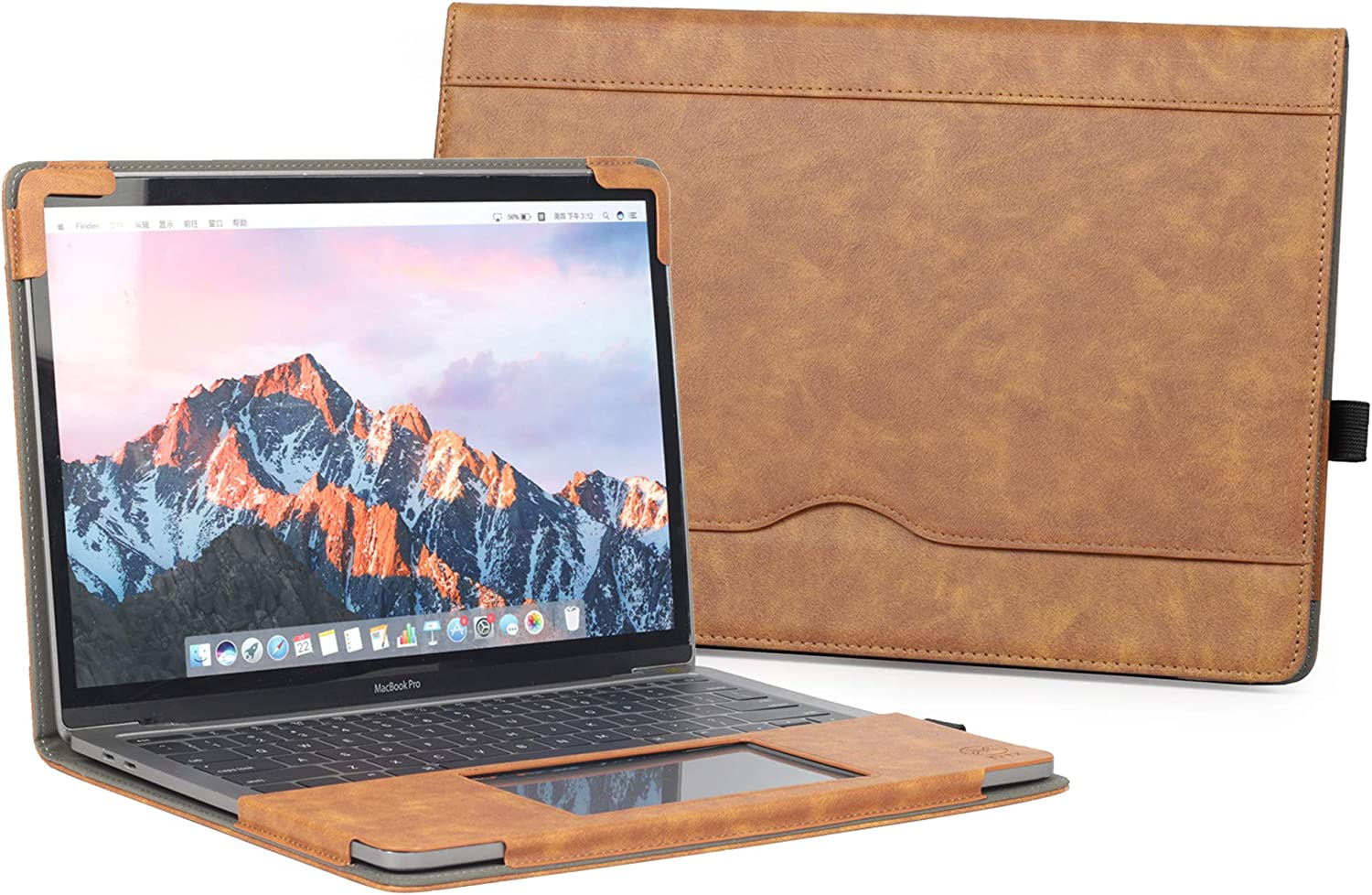 "TYTX MacBook Pro Leather Case 13 Inch 2016-2020 (A1989 A1706 A1708 A2159 A2289 A2251) Laptop Sleeve Protective Folio Book Cover (New MacBook Pro 13"", Brown)"