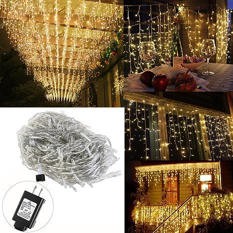 led icicle lights leorx 165 ft 216 led plug in fairy string lights warm