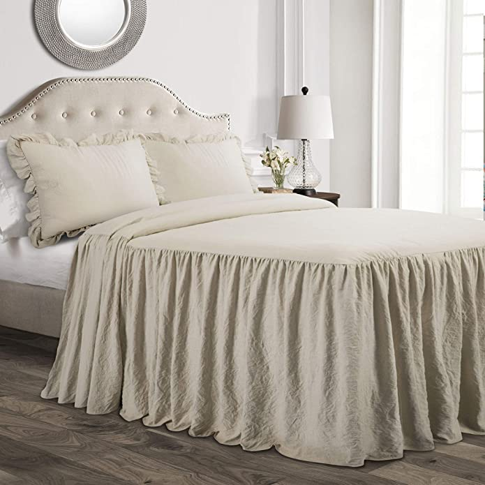 King 3pc Ruffle Skirt Bedspread Set Neutral - Lush Décor