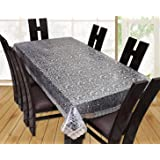 Live Factory 3D PVC Dinning Table Cover with Golden Lace - 6 Seater, Transparent (Gold, 60 x 90)