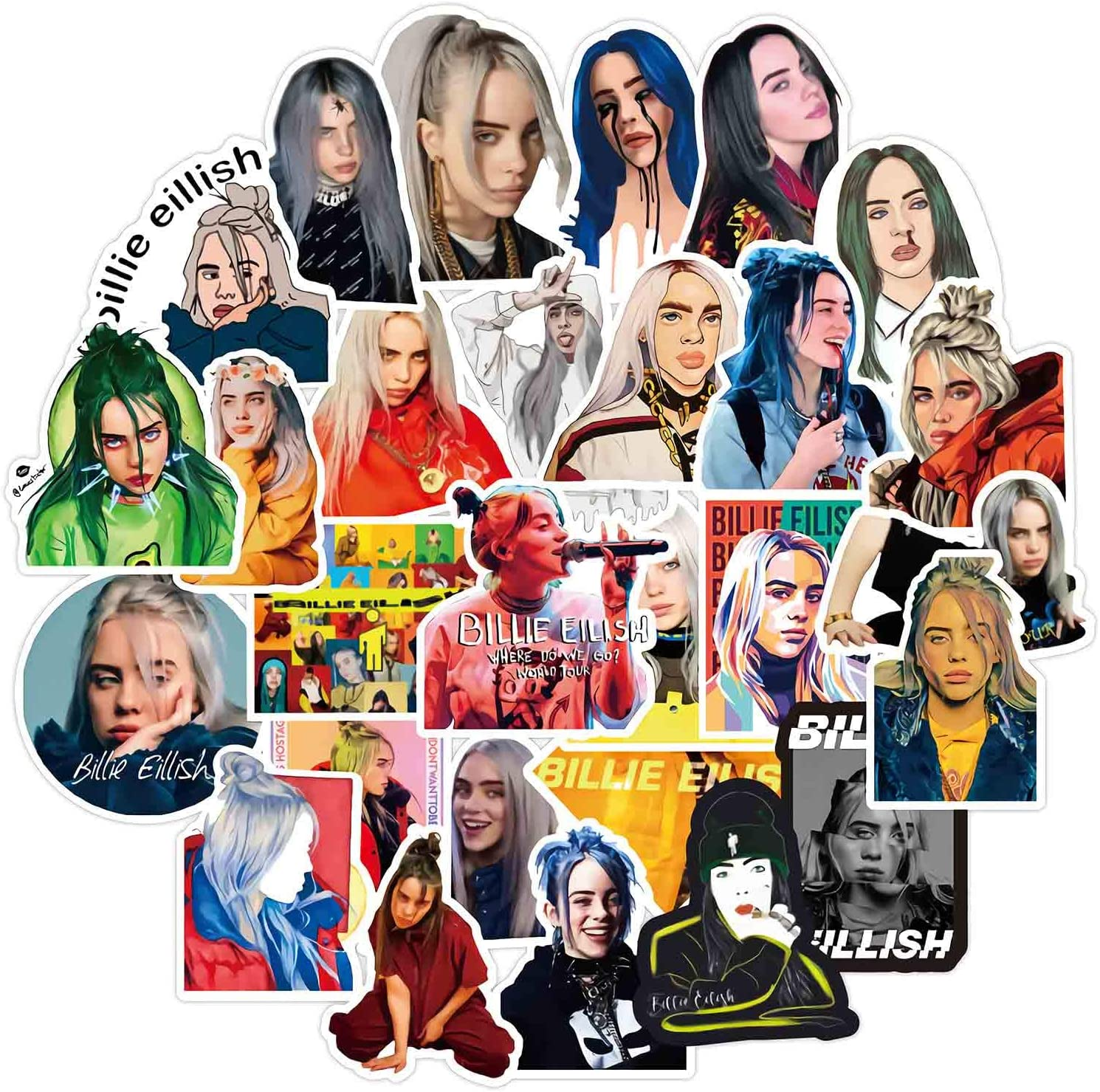 50 Pcs Billie Eilish Stickers,Waterproof Durable Trendy Vinyl Stickers for Laptop Decals Hydro Flask and Water Bottles, Ideal Gift for Teens and Adults