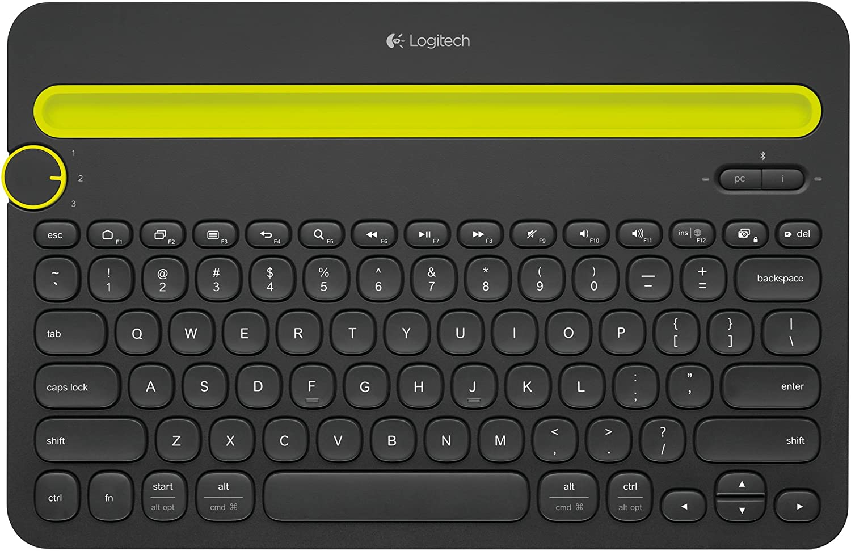 Logitech K480 Teclado Inalámbrico Multidispotivo para Windows, Apple iOS, Android o Chrome, Bluetooth, Diseño Compacto, PC/Mac/Portátil/Smartphone/Tablet, Disposición QWERTY Italiano, color Negro