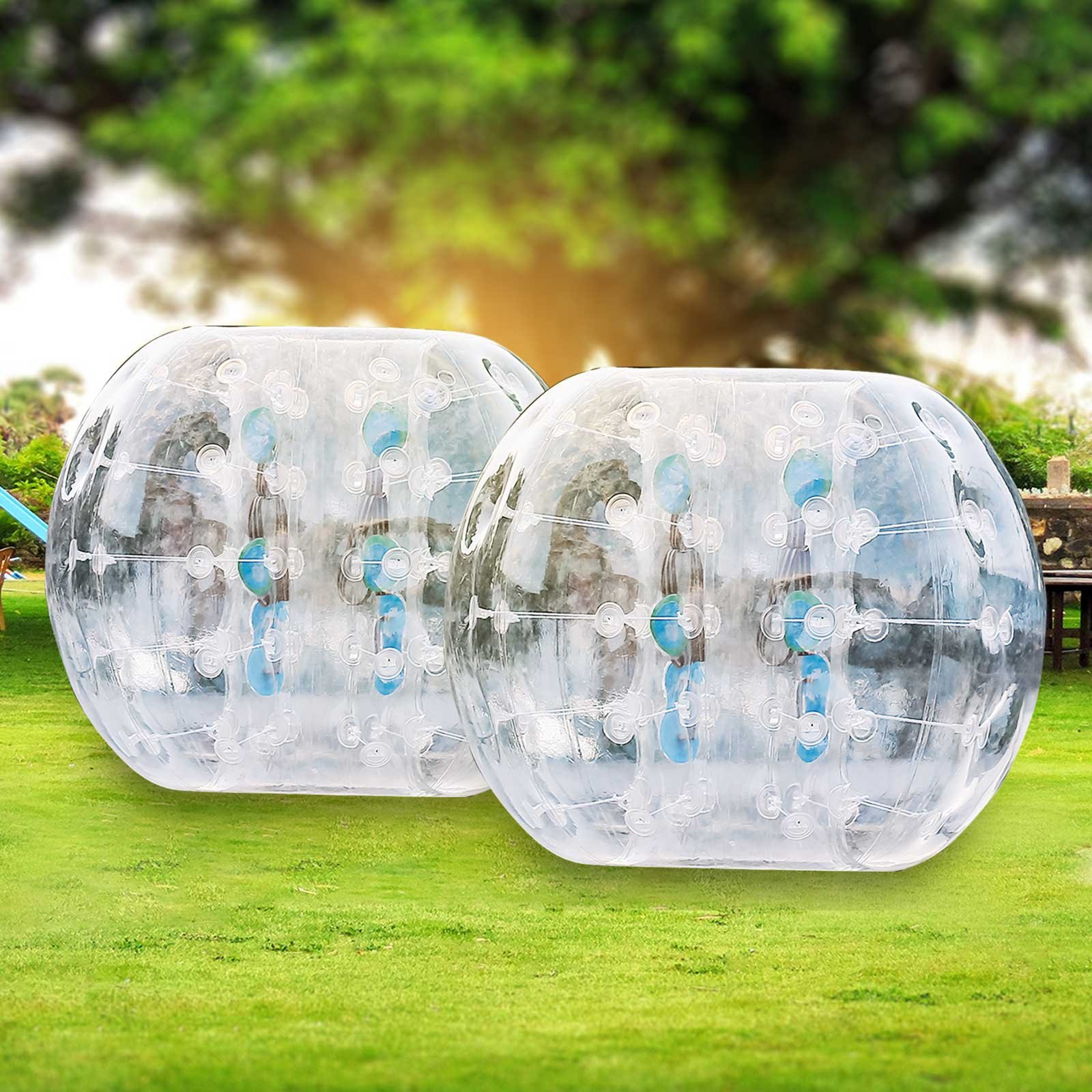 OrangeA Inflatable Bumper Ball Diameter 1.2M Bubble Soccer Ball 0.8mm PVC Transparent Material Zorb Ball for Adults and Kids (2 Pcs ) by OrangeA (Image #1)