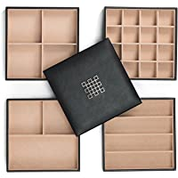 Glenor Co Jewelry Organizer Tray - 4 Stackable Trays & Lid with Mirror - 27 Slot Storage for Drawer Dresser - Black