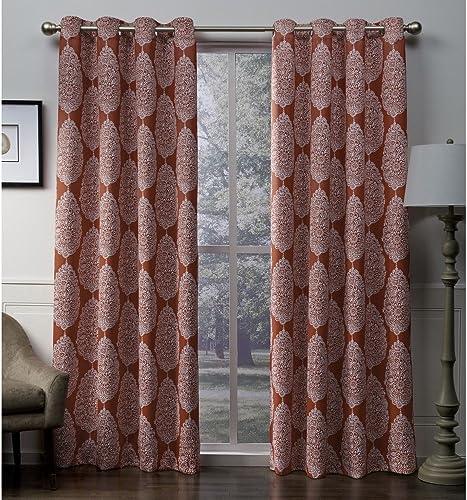 Exclusive Home Queensland Medallion Sateen Woven Blackout Grommet Top Curtain Panel Pair, Mecca Orange, 52×96