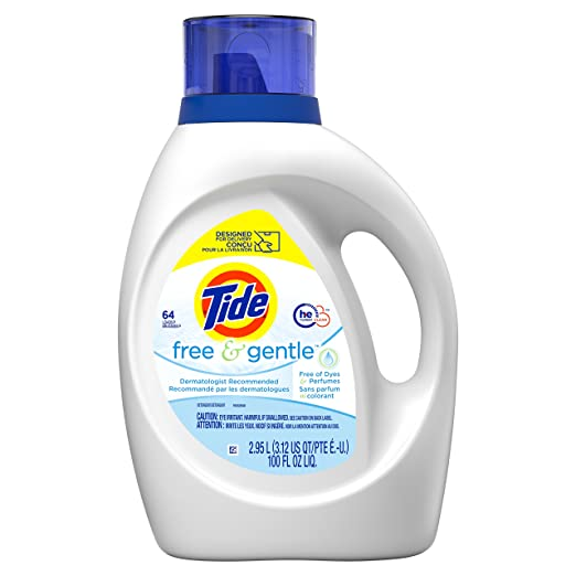 Tide Free and Gentle Liquid Laundry Detergent, Single 100 oz