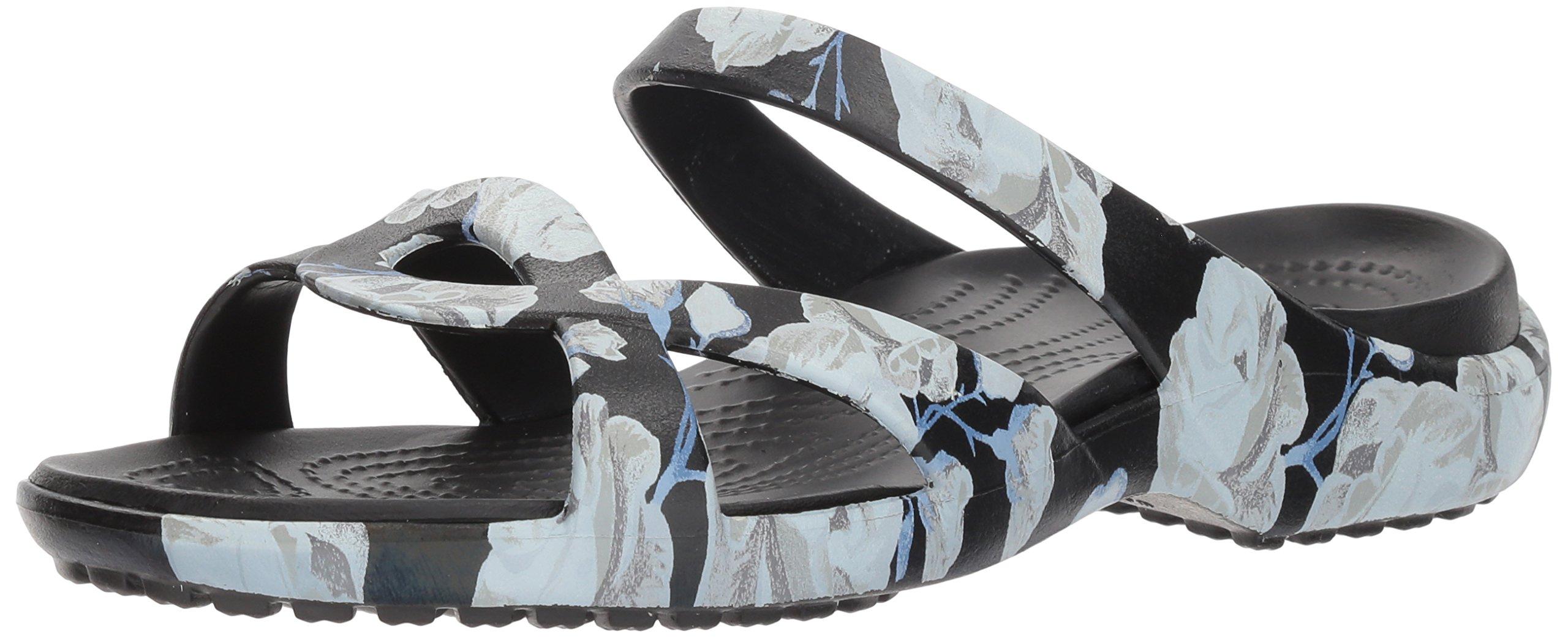 Crocs Women's Meleen Twist Graphic Flat Sandal, Rose/Black, 8 M US