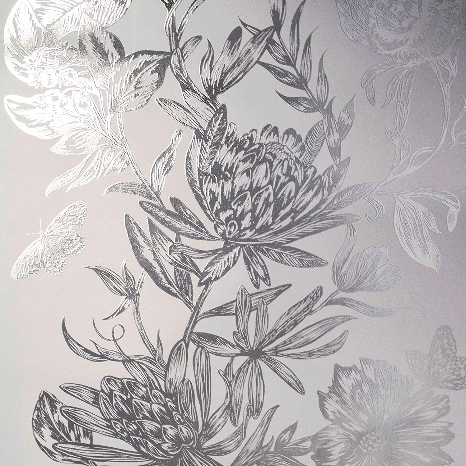 Crown Luxe Mayfair Kew Floral Wallpaper Silver M1473 Amazon Com