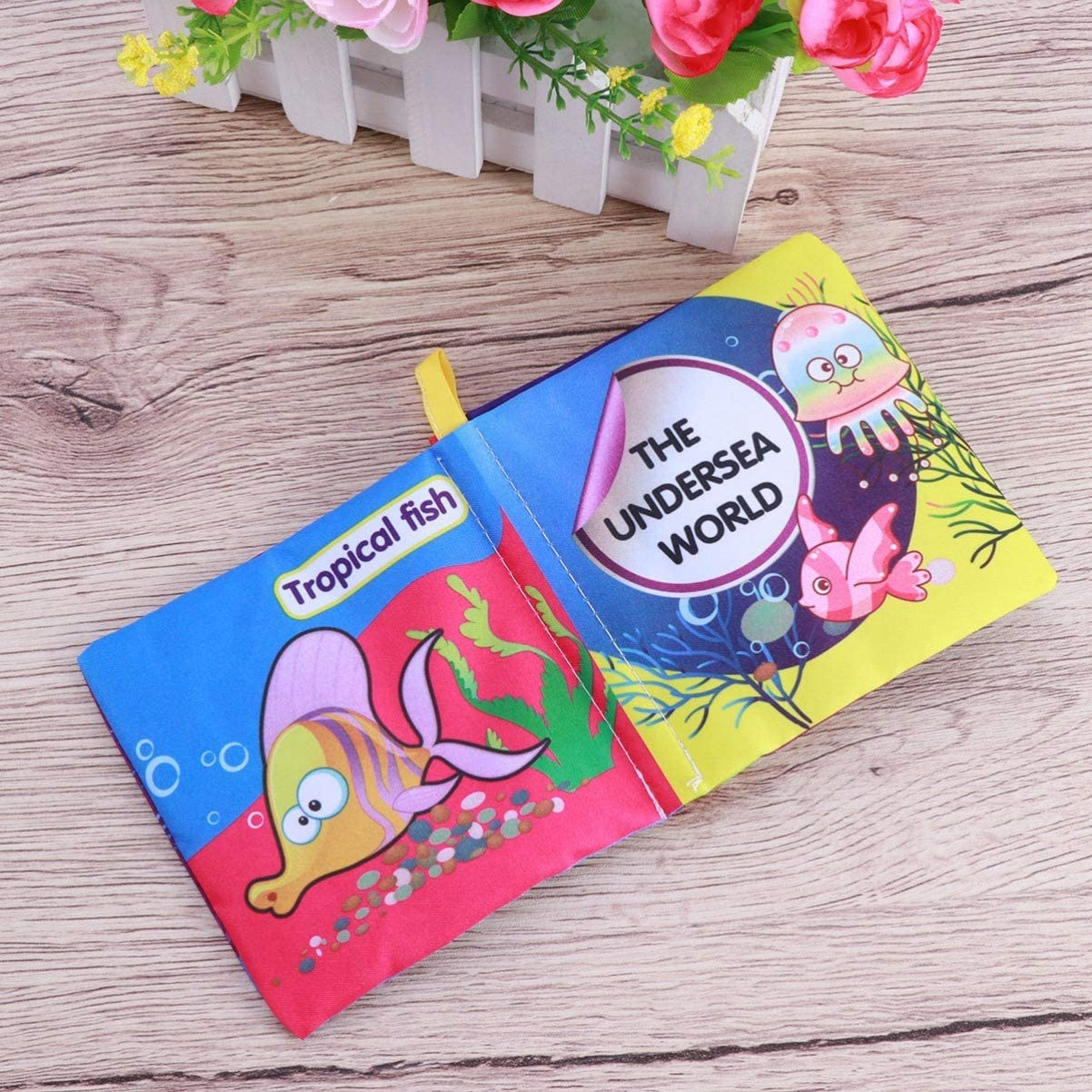 NUOBESTY Kids Activity Book Soft Baby Cloth Books Ocean Animal Early Learning Educational Toys Baby Shower Gift