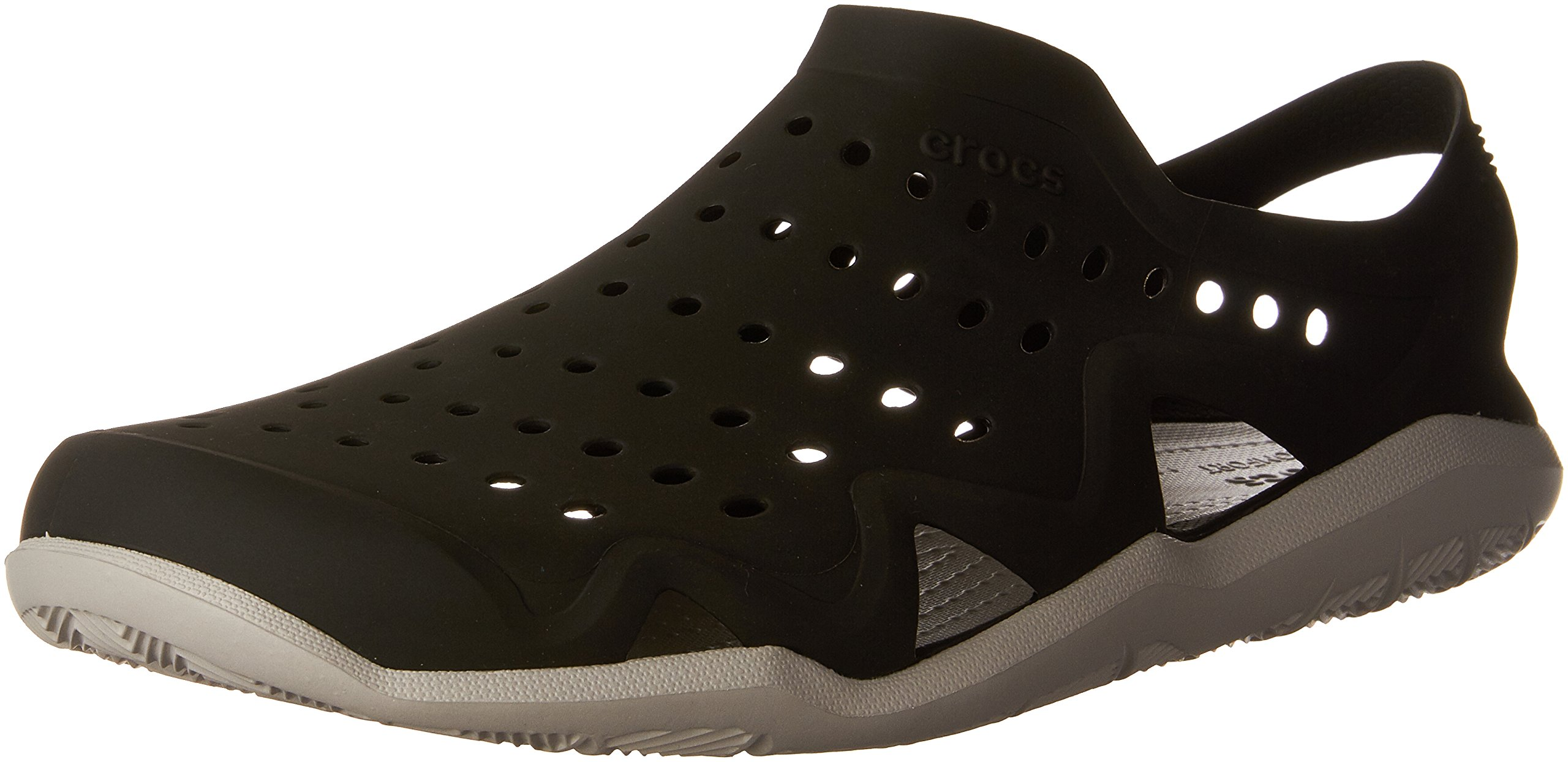 crocs Men's Swiftwater Wave M Flat,Black/Pearl White,10 M US