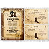 Western Rustic Wedding Boot Invitations With Matching Card Set Of 100