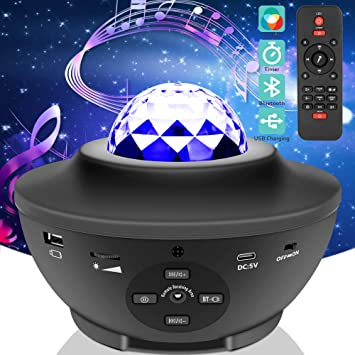 Star Night Light Projector Remote Control Ocean Wave Star Projector Music Sound Activated Galaxy Light Projector with Bluetooth Music Speaker for Bedroom for Party//Baby//Kids//Bedroom//Party
