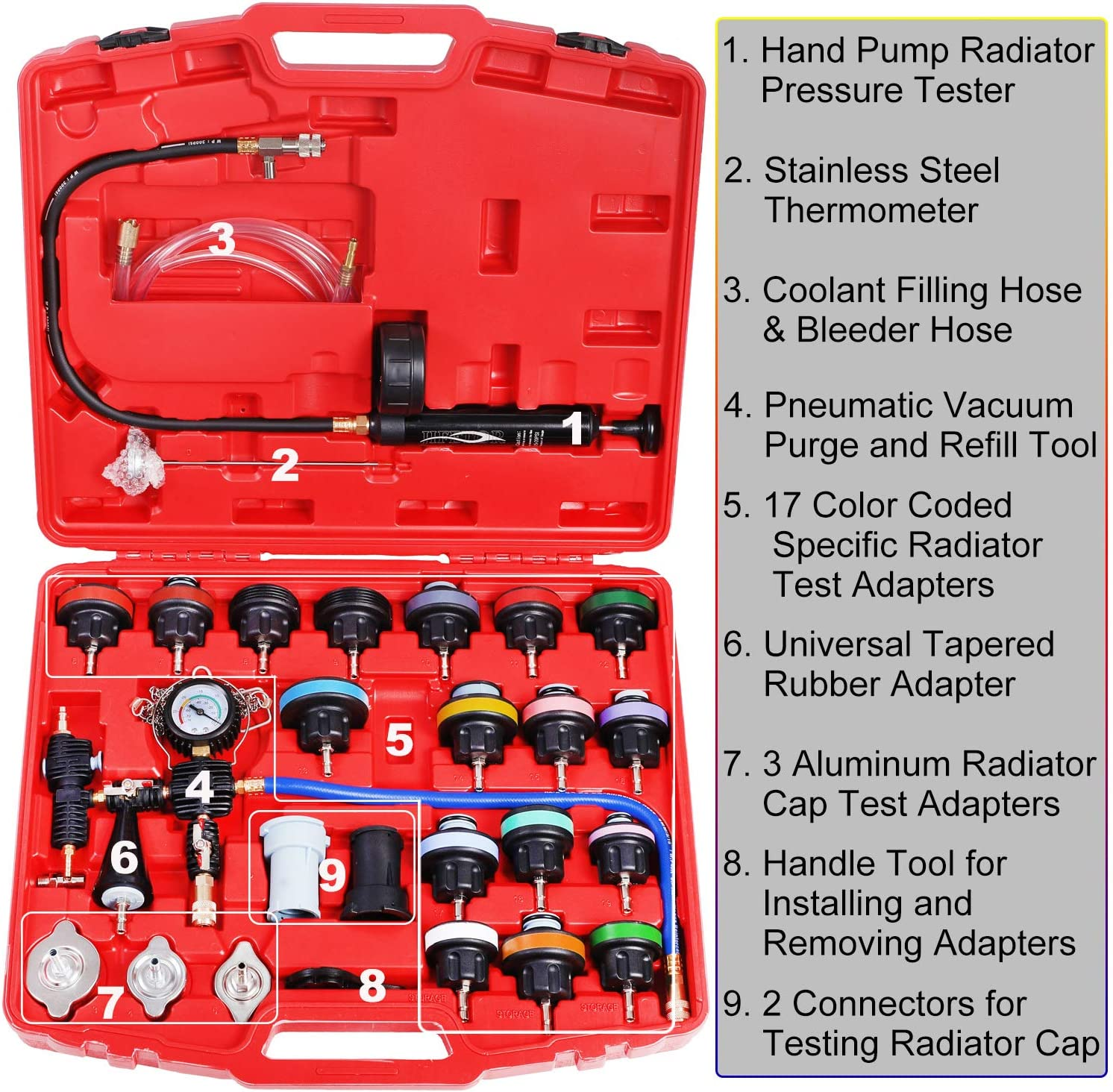 JIFETOR Radiator Pressure Leakage Tester and Vacuum Cooling System Purge Coolant Refill Tool Kit 28PCS Universal Automotive Water Tank Leak Test Detector and Pneumatic Vacuum Coolant Change Set