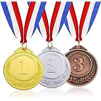3 Piezas de Oro Plata Bronce Medallas Medalla de Aleación Medallas Ganadores Medalla de Ganador Estilo Olímpico Niños…