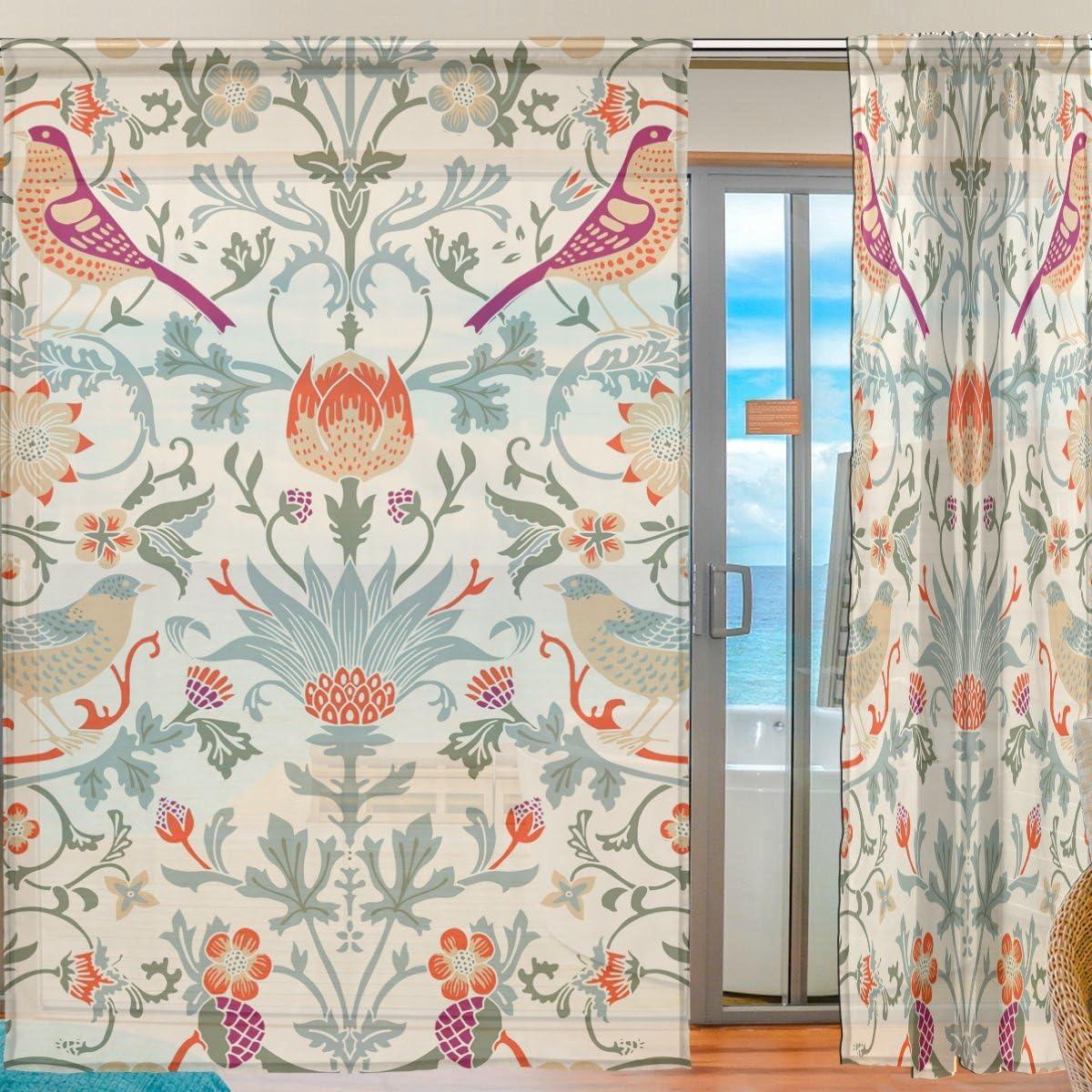 INGBAGS Bedroom Decor Living Room Decorations William Morris Flower Pattern Print Tulle Polyester Door Window Gauze Sheer Curtain Drape Two Panels Set 55×78 inch,Set of 2