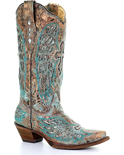1d16c9a71ae CORRAL Women's Turquoise Wing and Cross Cowgirl Boot Snip Toe Multi ...