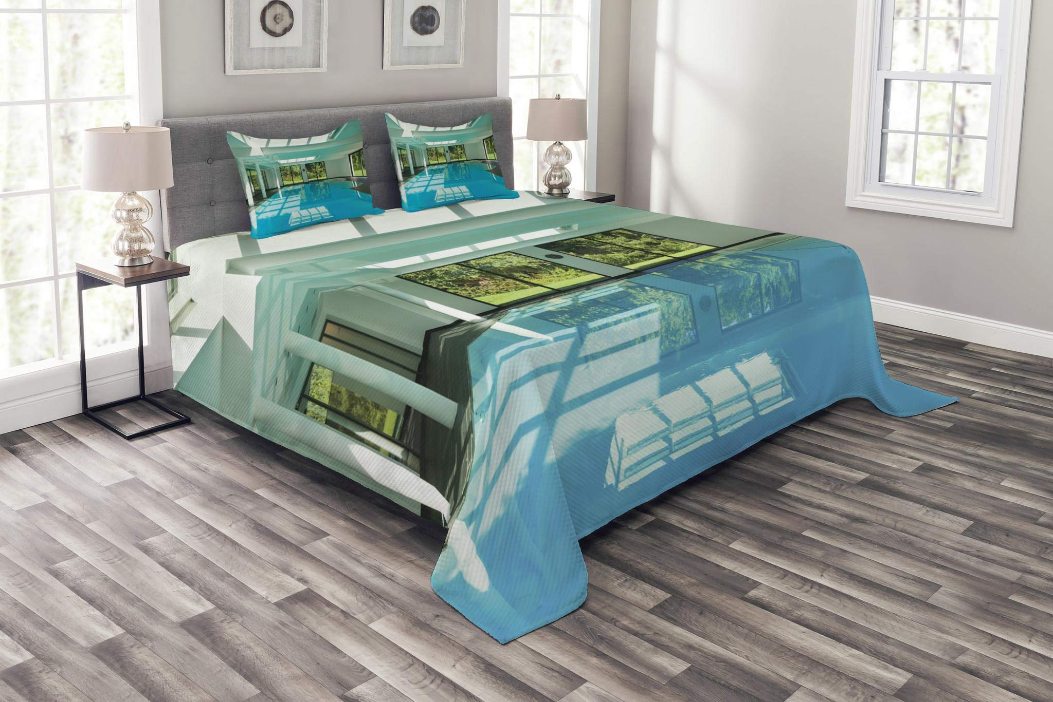 Lunarable Spa Bedspread Set Queen Size, Indoor Swimming Pool of a Modern House with Spa Window Residential Interior Design, Decorative Quilted 3 Piece Coverlet Set with 2 Pillow Shams, Mint Aqua Green