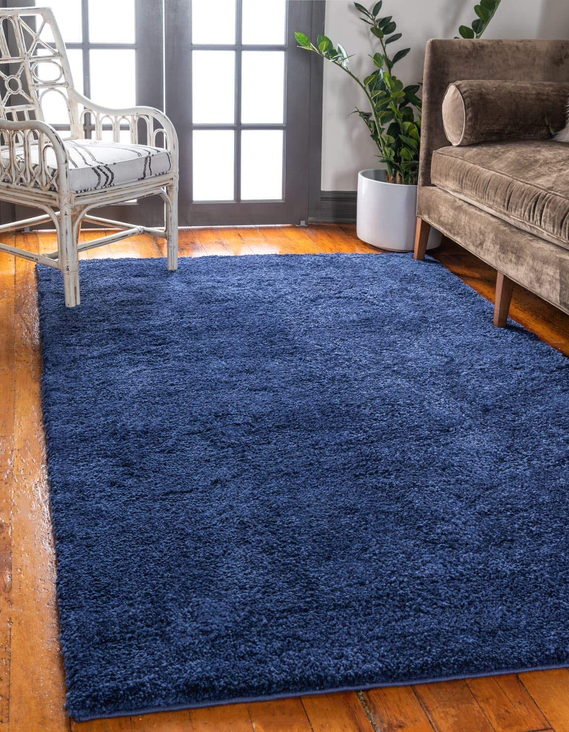 Unique Loom Solo Collection Solid Plush Kids Navy Blue Area Rug 8 0 x 10 0