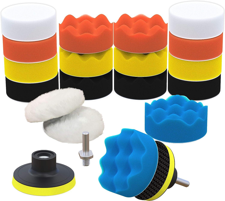 """7pc 3/"""" Auto Car Polish Wax Foam Sponge Pad Polisher Buffer Kit Drill Adapter Set"""