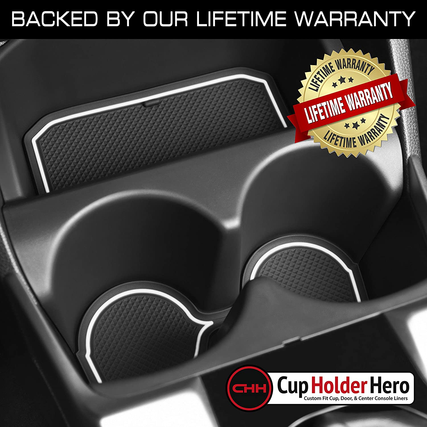 CupHolderHero for Honda Fit 2015-2020 Custom Liner Accessories Center Console White Trim and Door Pocket Inserts 13-pc Set Premium Cup Holder