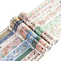 Washi Tape 20 Rolls Washi Tape Set Gold Foil Skinny Masking Tape DIY Decor and Craft Supplies DIY Scrapbooking Crafts…