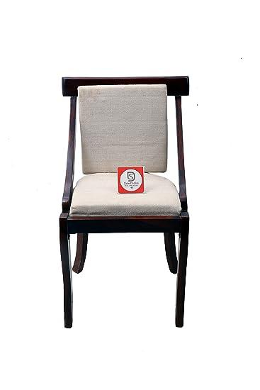 Santosha Decor Pre- Assemble Solid Sheesham Wood Dinning Chair | Study Chair | Multipurpose Chair with White Cushion - Mahogany Finish (Special PU Polish) …