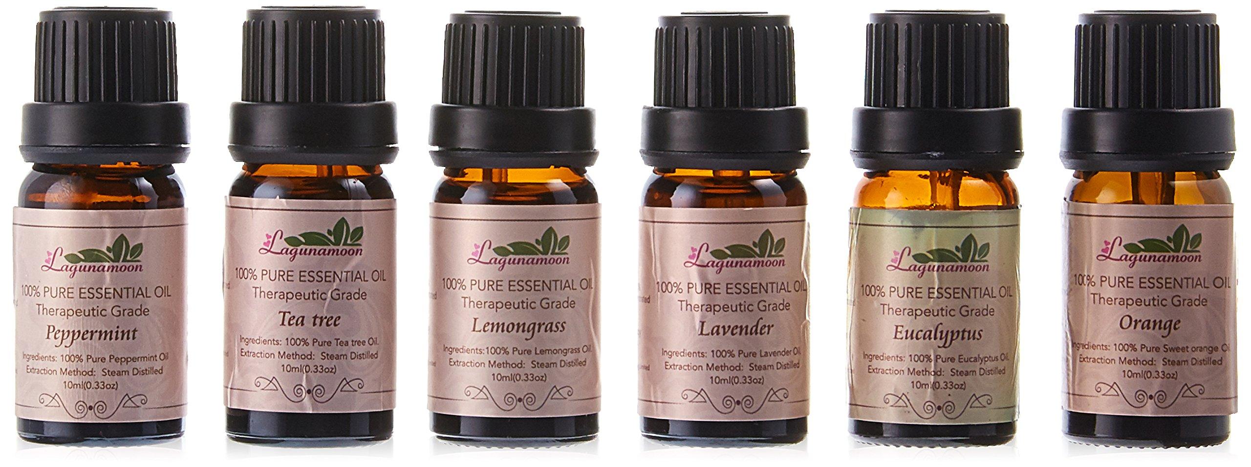 Aromatherapy Essential Oils Gift Set, Top 6 100% Pure Premium Therapeutic Grade Oils -Lavender, Tea Tree , Eucalyptus, Lemongrass, Orange, Peppermint Essential Oils