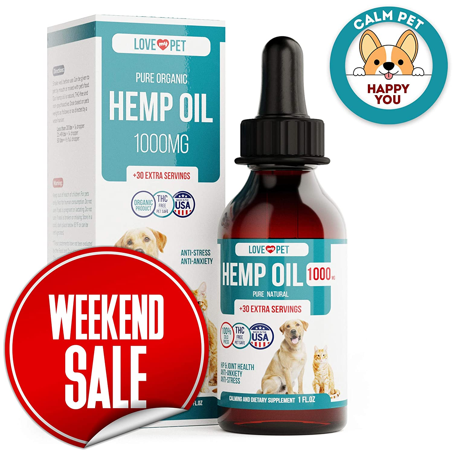 Amazon.com : Hemp Oil for Dogs - 1000 mg - Provides Anxiety Relief ...