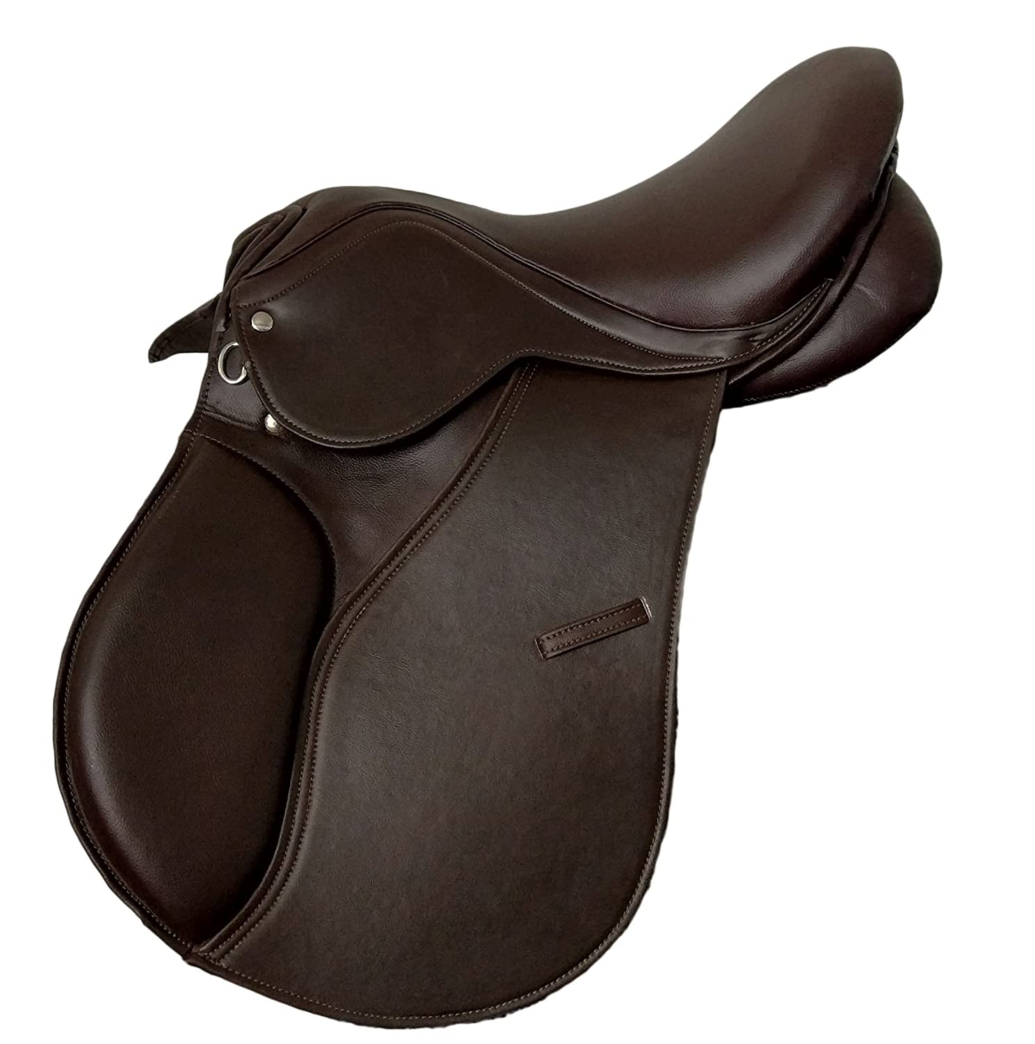 SYNTHETIC JUMPING SELF ADJUSTING GP SADDLE WITH EASY CHANGEABLE GULLET SYSTEM IN BROWN COLOR 17' SEAT
