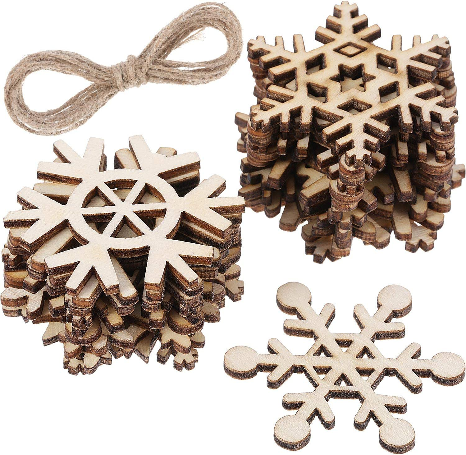 Hestya 50 Pieces Wooden Snowflake Ornaments Unfinished DIY Wood Snowflake Cutouts Christmas Tree Hanging Ornaments with Strings for DIY Christmas Decorations (8cm)