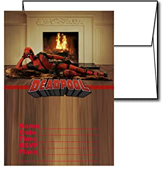 Amazon 12 deadpool birthday invitation cards 12 white envelops 12 deadpool birthday invitation cards 12 white envelops included bookmarktalkfo Choice Image
