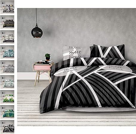 AmeliaHome t3lg - Juego de Funda de edredón y de Almohada (100% algodón, con Cremallera), diseño de Gotas, Color Blanco y Verde Oscuro, algodón, Sweet Home Dark, 240x260 + 63x63*2: Amazon.es: Hogar