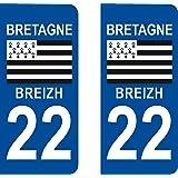 2 Stickers Autocollant style Plaque Immatriculation département 22