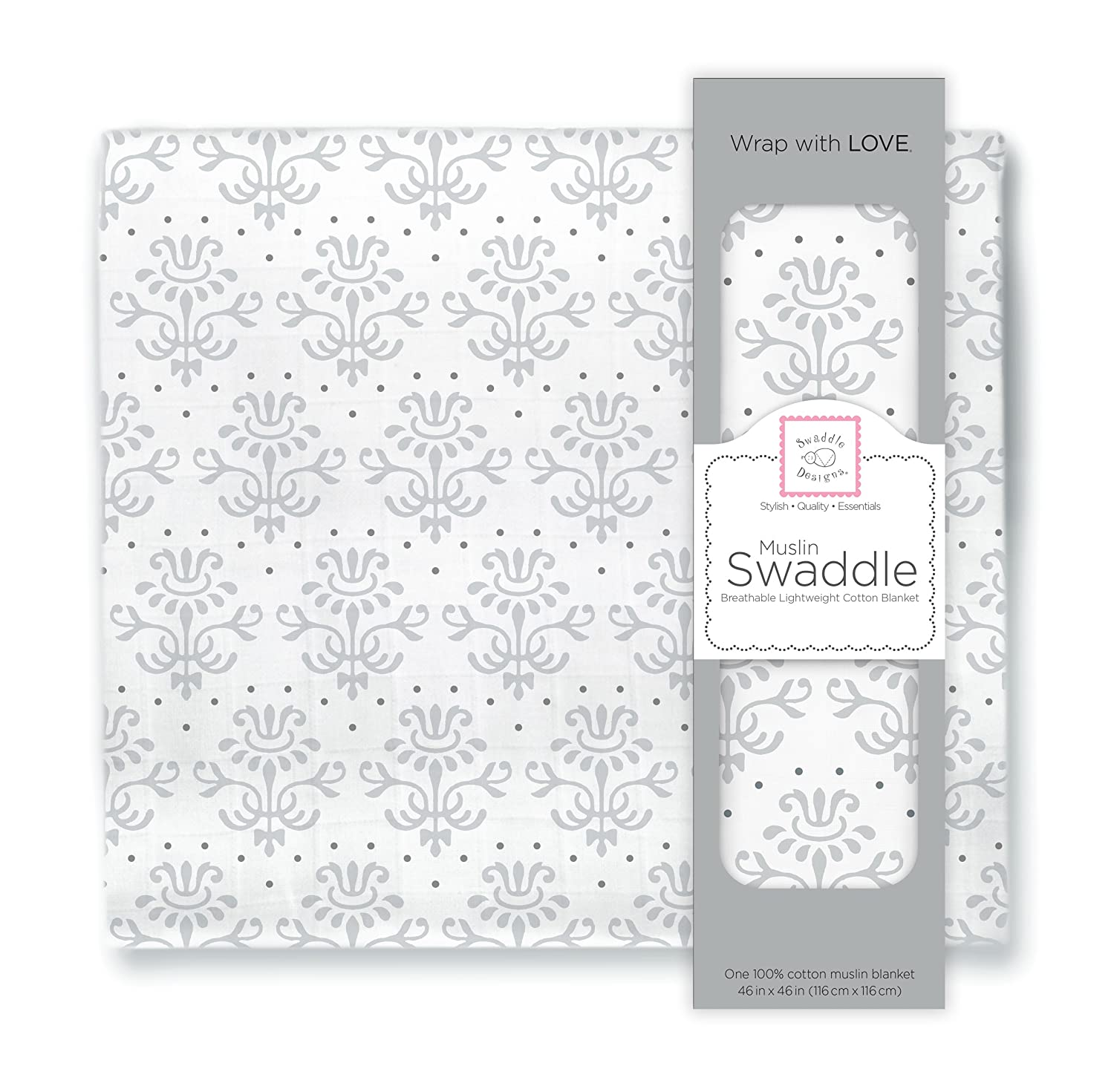 SwaddleDesigns X-Large Cotton Muslin Swaddle Blanket, Sterling Lillie SDM-158BK