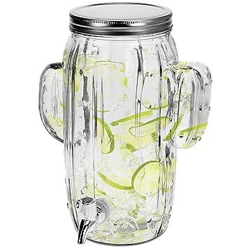 Dispensador de bebidas 4 litros B23 X T15 x H29 cm Incluye grifo diseño de cactus dispensador de zumo Jarra de cristal: Amazon.es: Hogar
