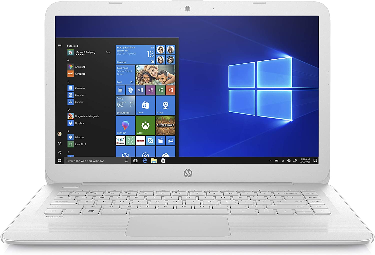 HP Stream 14-inch Laptop, Intel Celeron N4000, 4 GB RAM, 32 GB eMMC, Windows 10 Home in S Mode With Office 365 Personal For 1 Year (14-cb183nr, Diamond White), Model Number: 9MV83UA#ABA