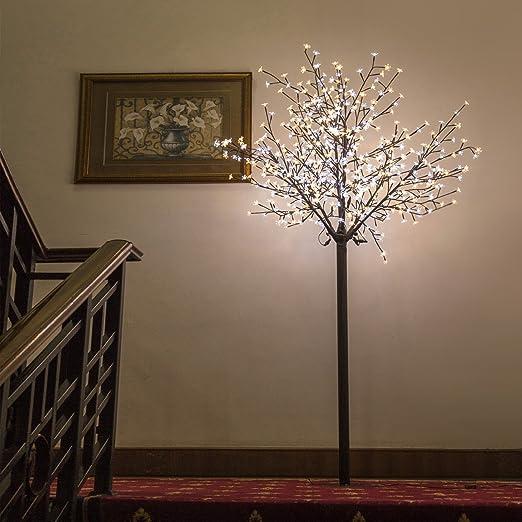 B-STOCK Árbol Decorativo 600 Luces LED Iluminación Hogar Flor Cerezo Exterior