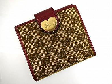 7303065314fa (グッチ) Gucci 二つ折り財布 Wホック財布 ハート金具 GGキャンバス レディース 中古