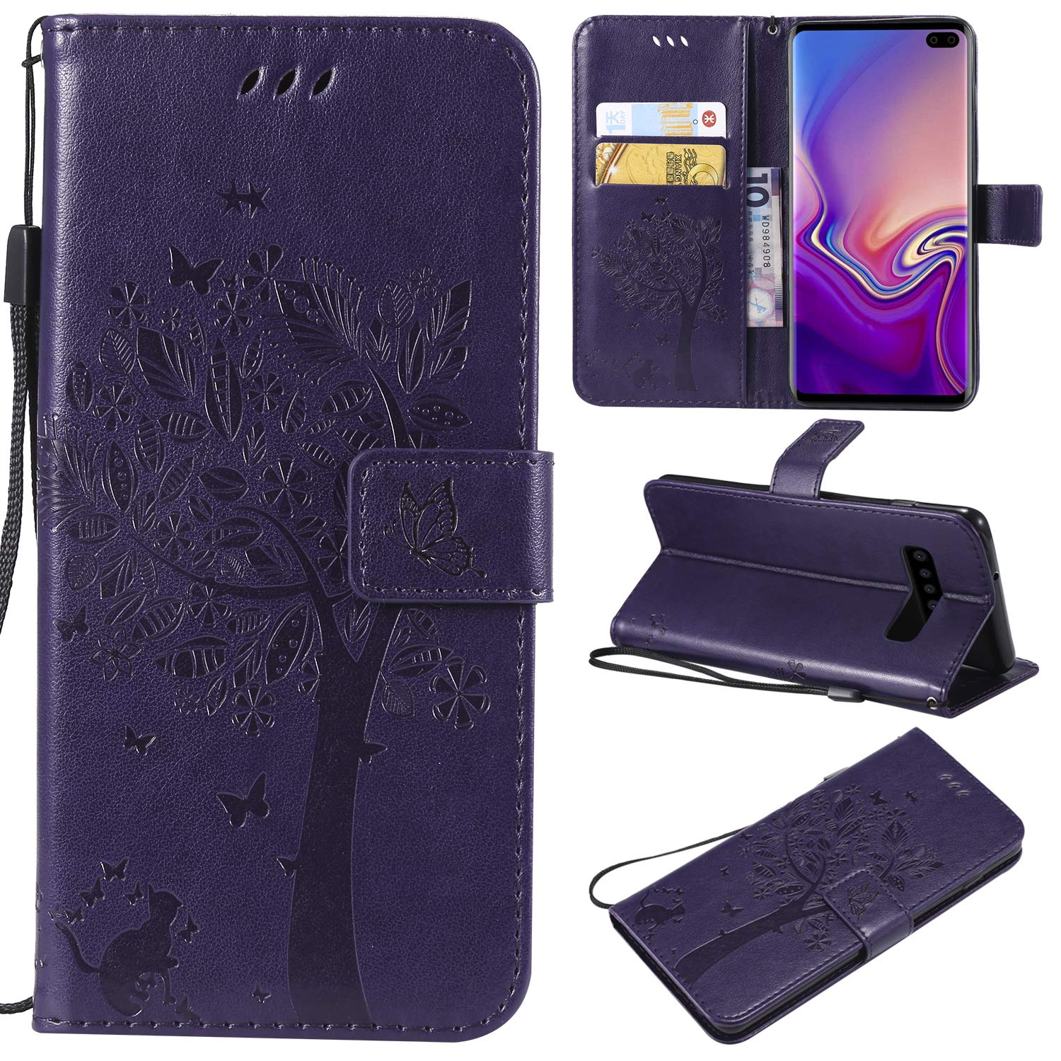 Galaxy S10 Plus Case,Samsung S10 Plus Case,Wallet Case,PU Leather Case Floral Tree Cat Embossed Purse with Kickstand Flip Cover Card Holders Hand Strap for Samsung Galaxy S10 Plus Purple