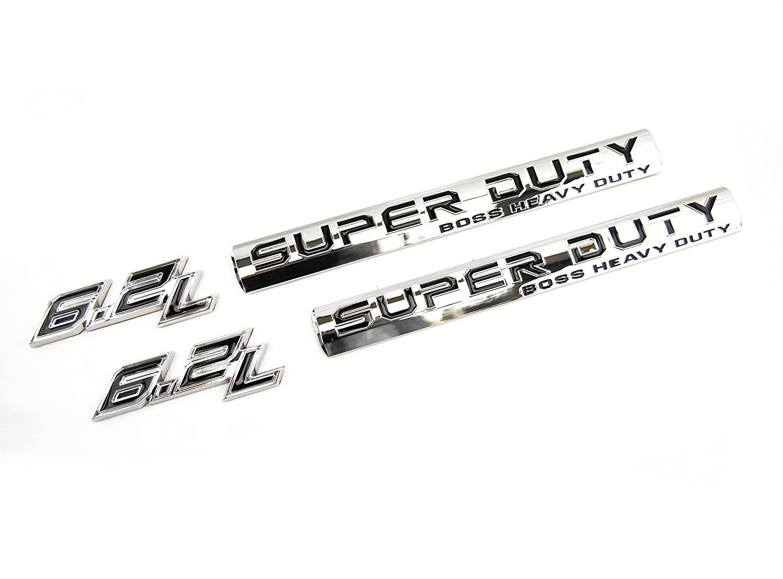 Truck Emblem Warehouse 2 New Custom Chrome F250 F350 17-19 6.2L V8 Super Duty Badges Emblems Set Pair