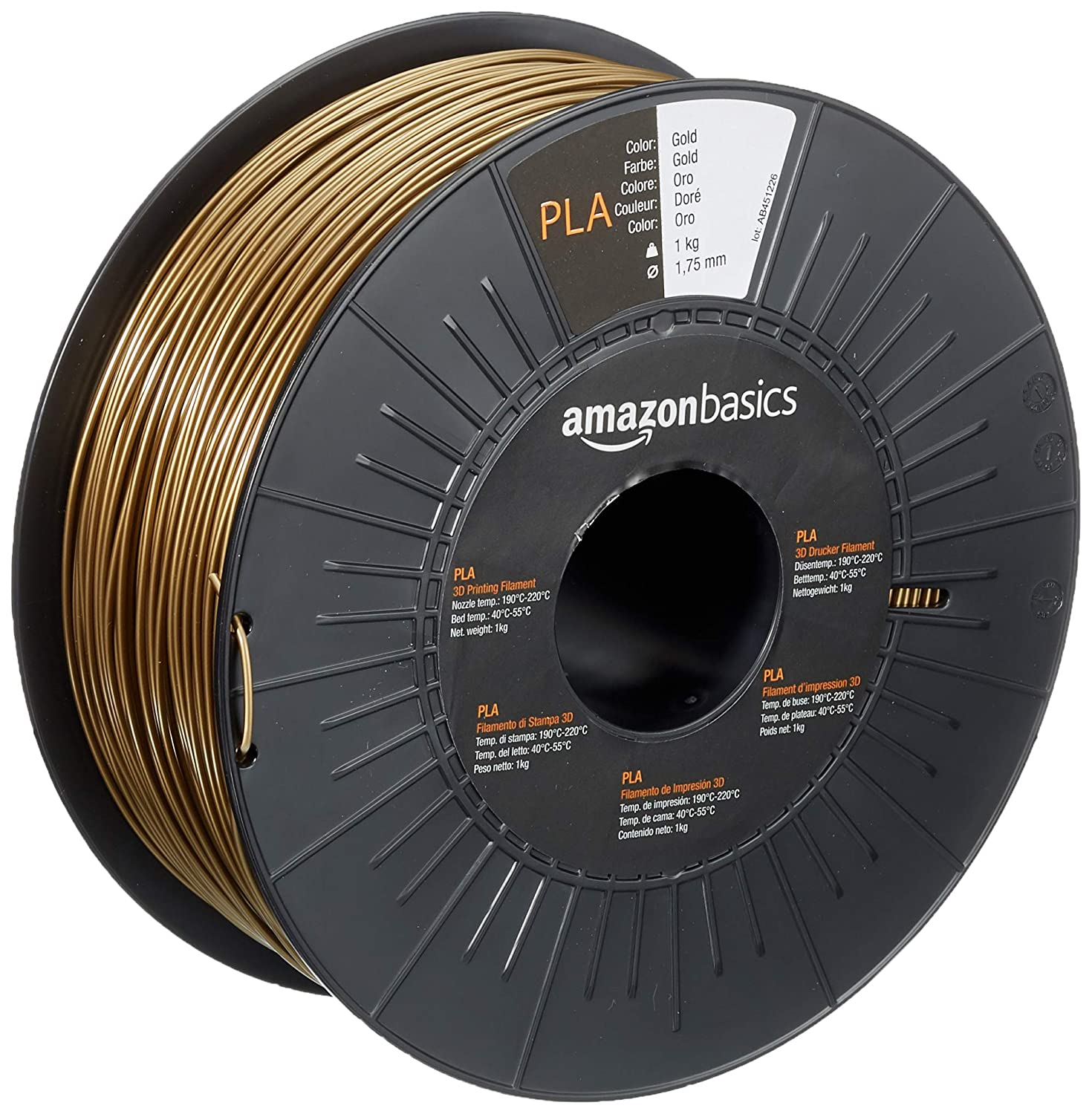 AmazonBasics PLA 3D Printer Filament, 1.75mm, Gold, 1 kg Spool