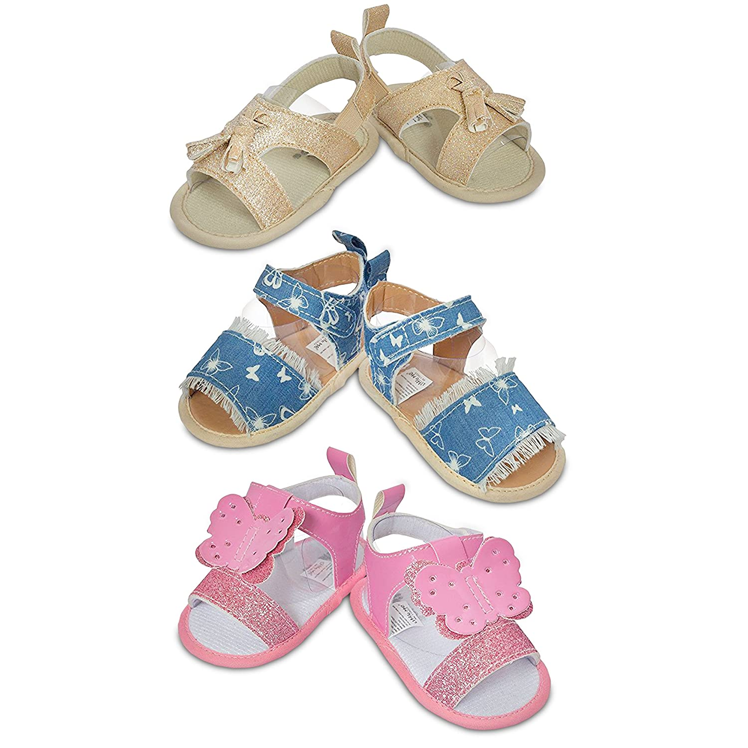 94112fdefed0 Amazon.com  3 Pack Infant Girl Shoes- Assorted Baby Girl Sandals- for Summer