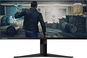 Lenovo G34w-10 34-Inch WQHD Curved Gaming Monitor, 21:9 Ultra-Wide, 3 Side NearEdgeless, 3440 x 1440, AMD FreeSync, 144Hz, HDMI, DP, Adjustable Stand, VESA, 66A1GCCBUS, Black