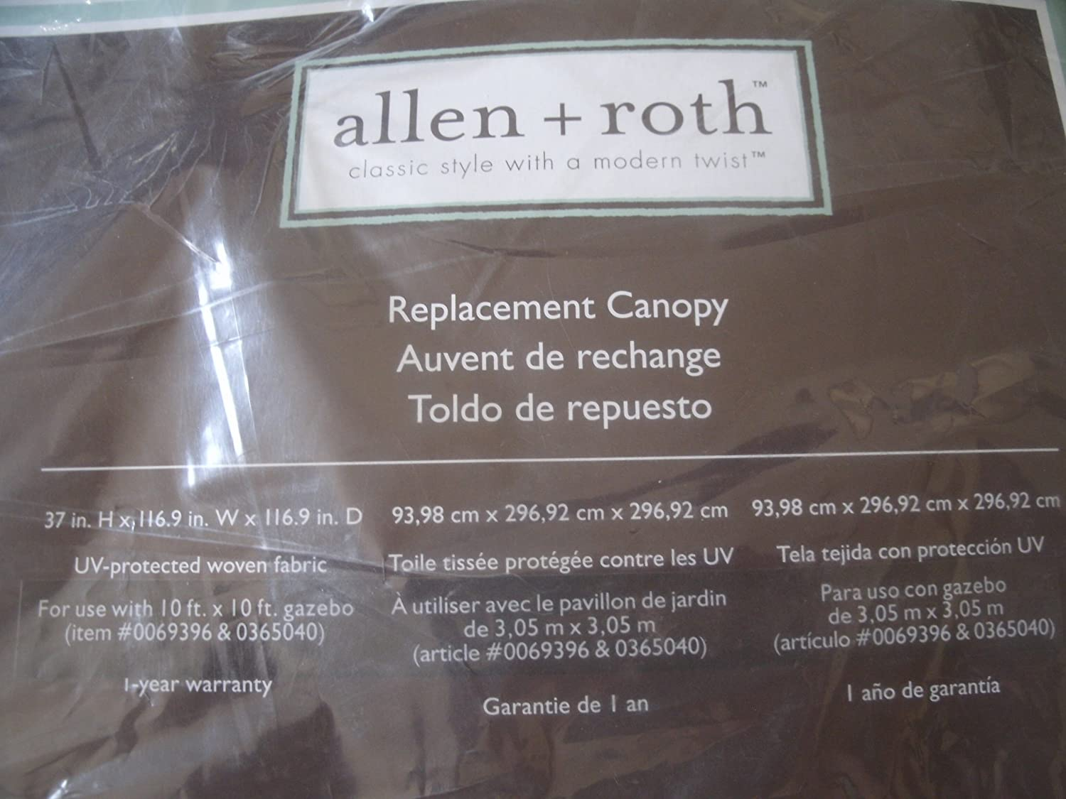 Amazon.com  Allen+Roth Replacement Canopy Item# 64222 Model# GF-12S039BT0 UPC# 749241409387  Outdoor And Patio Products  Garden u0026 Outdoor & Amazon.com : Allen+Roth Replacement Canopy Item# 64222 Model# GF ...