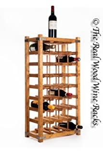 New Real Wooden Rustic Wine Rack / Cabinet, 32 Bottles With Table Top,  Kitchen