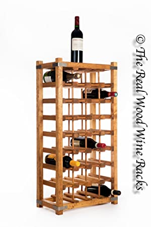 New Real Wooden Rustic Wine Rackcabinet 32 Bottles With Table Top