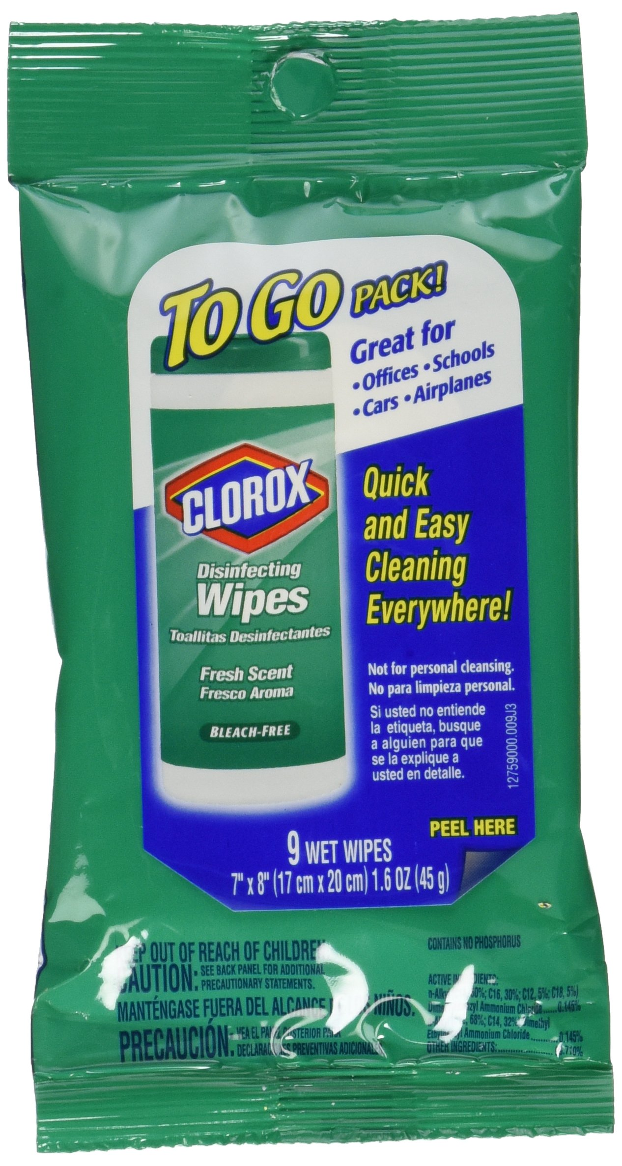 Clorox Disinfecting Wipes To Go, Fresh Scent, Twenty- Four 9 Count Pack (216 Wipes) by Clorox Disinfecting Wipes (Image #1)