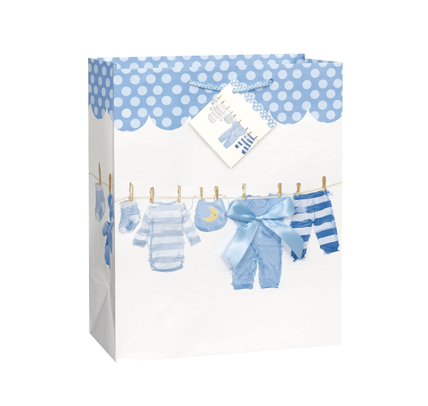Blue Bow Clothesline Boy Baby Shower Gift Bag Unique Industries Inc. - kitchen 64448